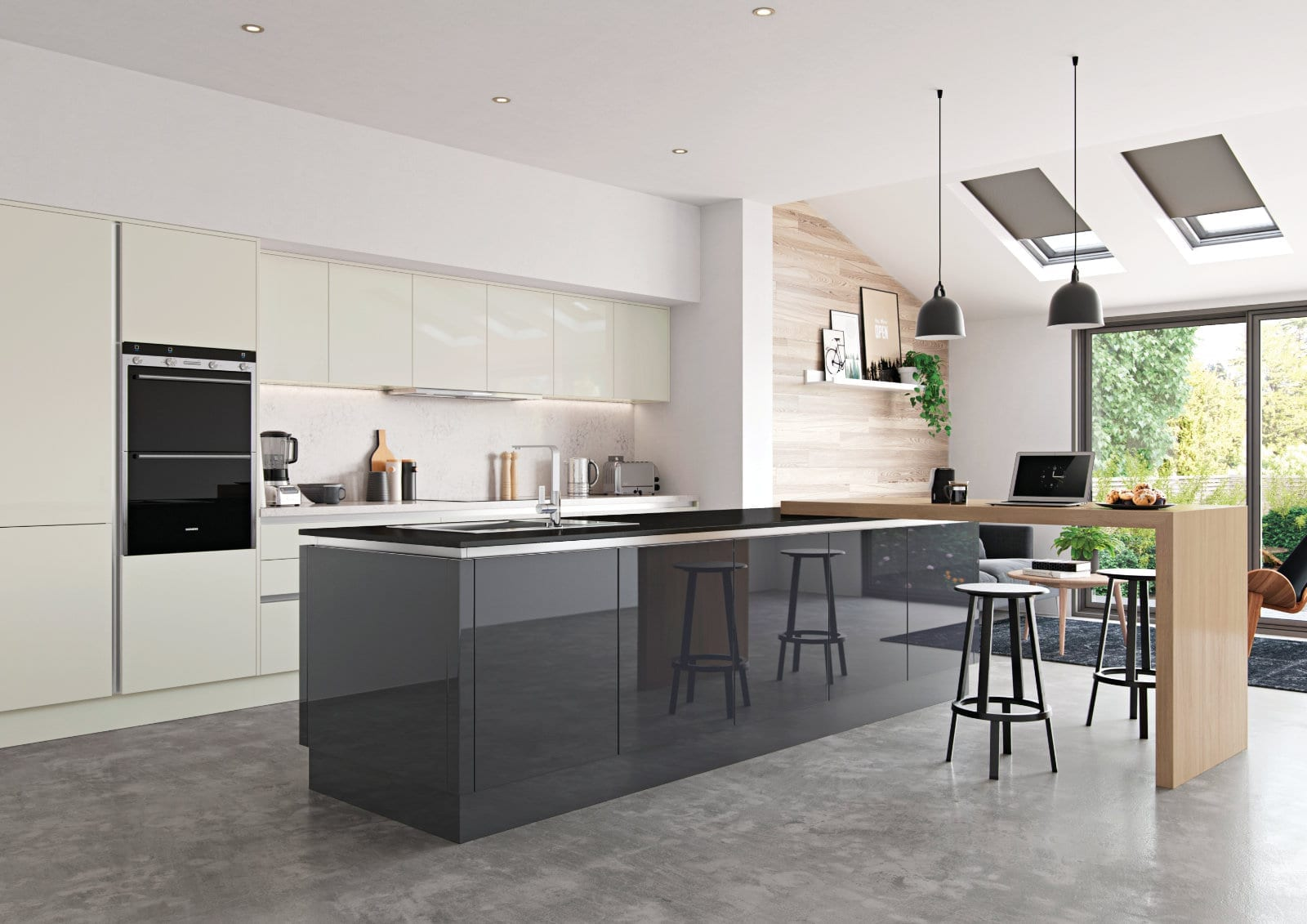 Alku Gloss Open Plan Kitchen With Island 1 | Unique Bedrooms Direct | Dunstable