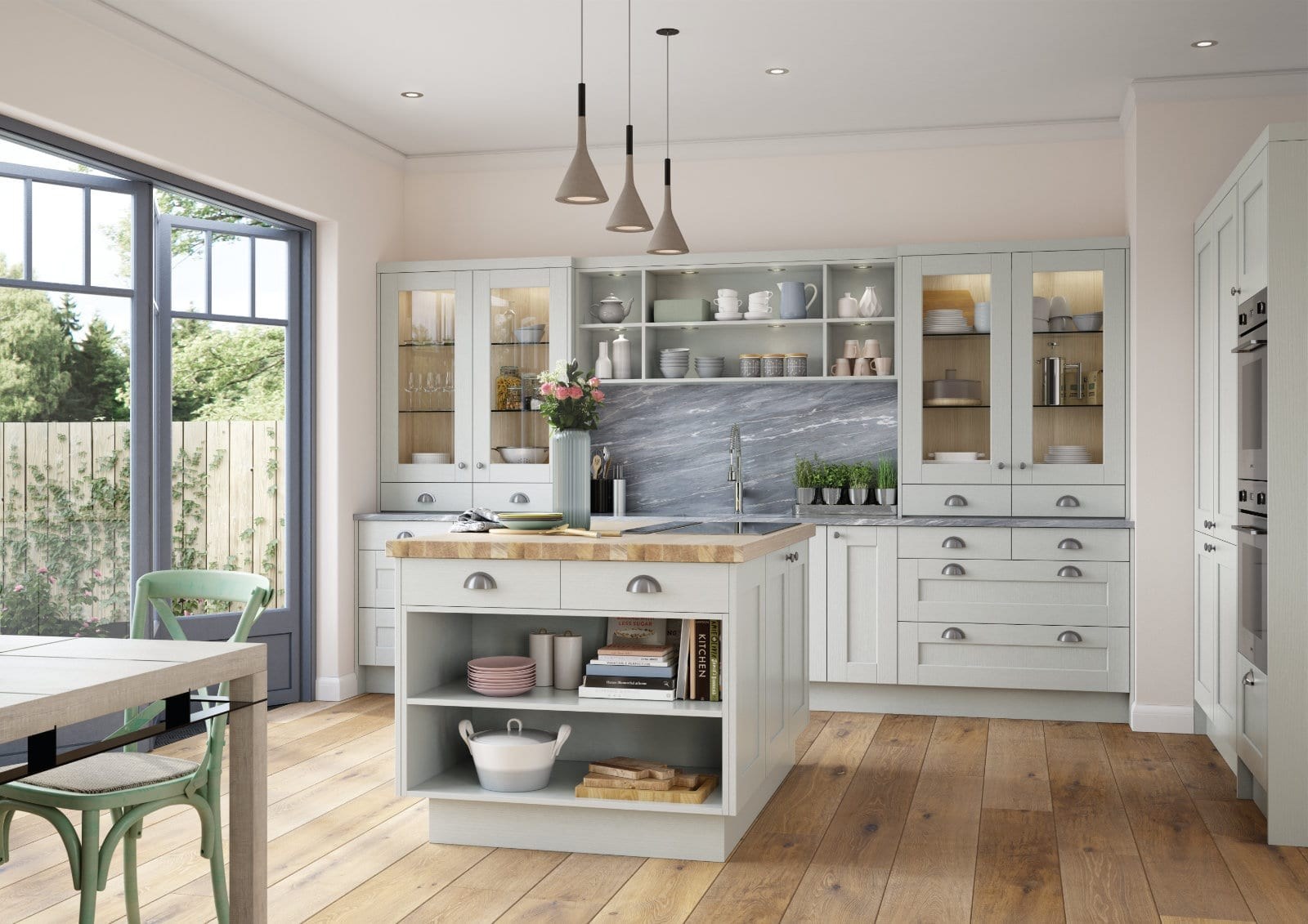 Alku Light Shaker L Shaped Kitchen With Island 2 | Unique Bedrooms Direct | Dunstable