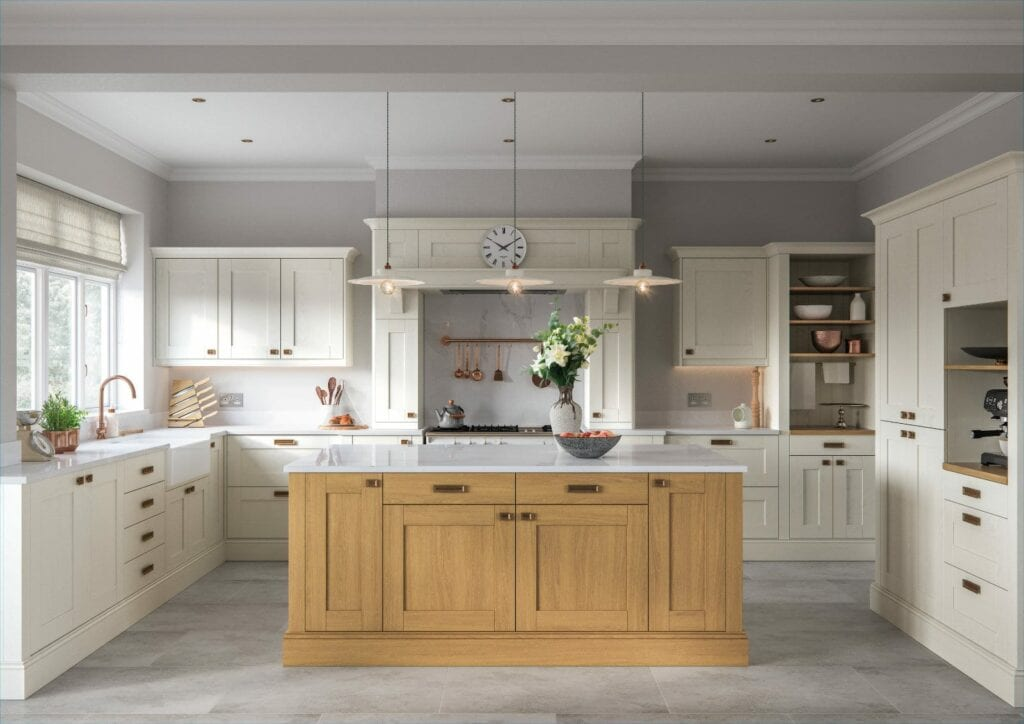 Alku Light Shaker U Shaped Kitchen With Island 2 | Unique Bedrooms Direct | Dunstable