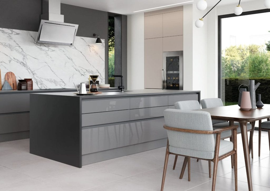 Alku Modern Grey Gloss Kitchen With Island | Unique Bedrooms Direct | Dunstable