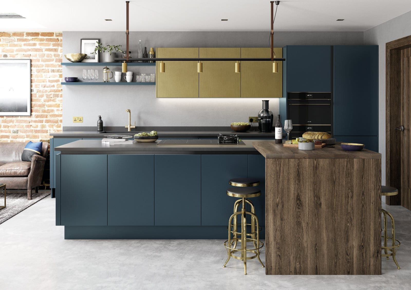 Alku Modern Handleless Kitchen With Island | Unique Bedrooms Direct | Dunstable