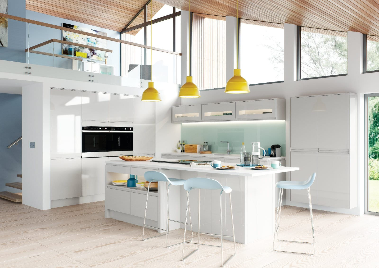 Alku Modern White Gloss L Shaped Kitchen With Island | Unique Bedrooms Direct | Dunstable