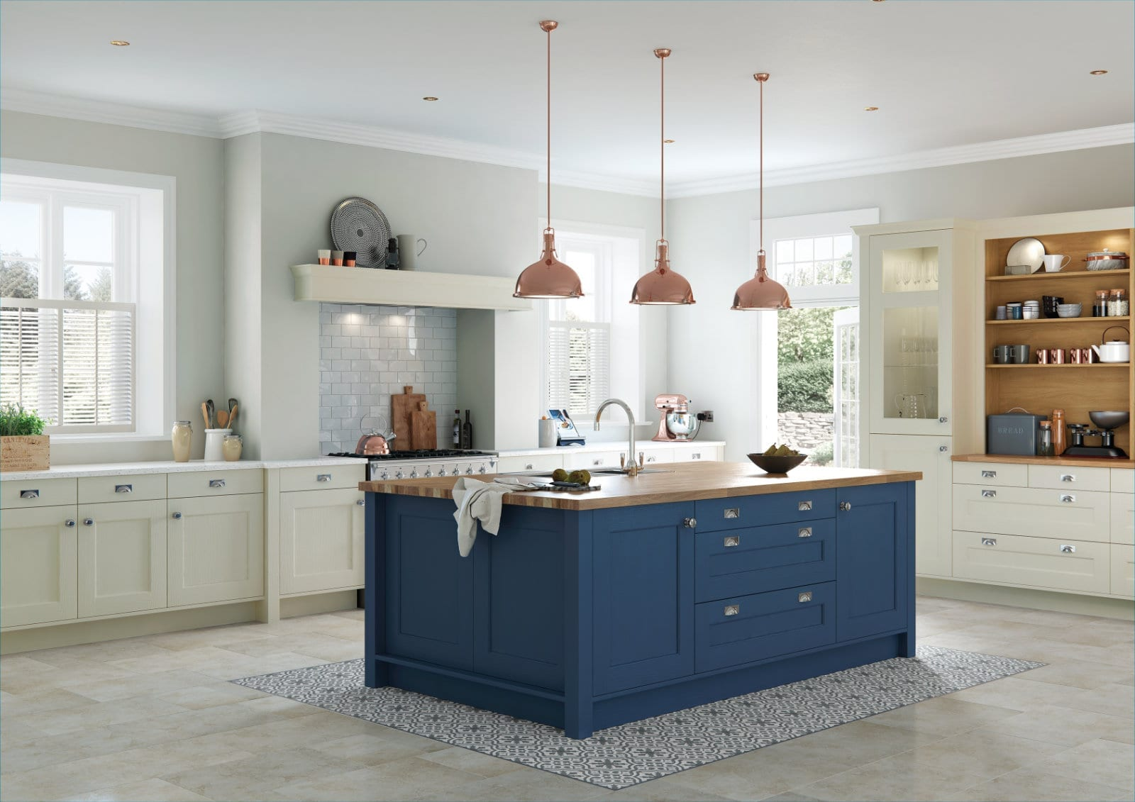 Alku Open Plan Traditional Shaker Kitchen With Island 1 | Unique Bedrooms Direct | Dunstable