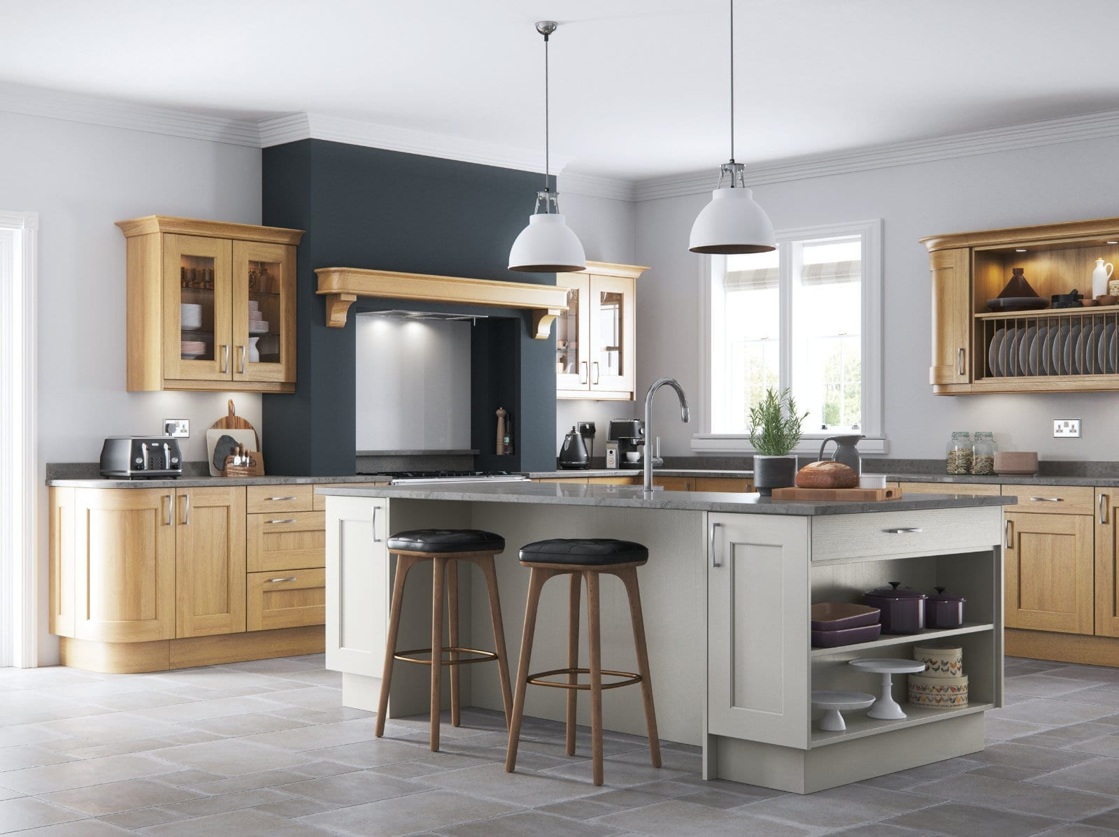 Alku Shaker Grey Wood L Shaped Kitchen With Island 1 | Unique Bedrooms Direct | Dunstable