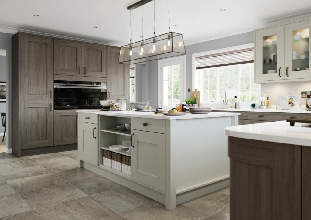 Alku Shaker Wood U Shaped Kitchen With Island 2 | Unique Bedrooms Direct | Dunstable