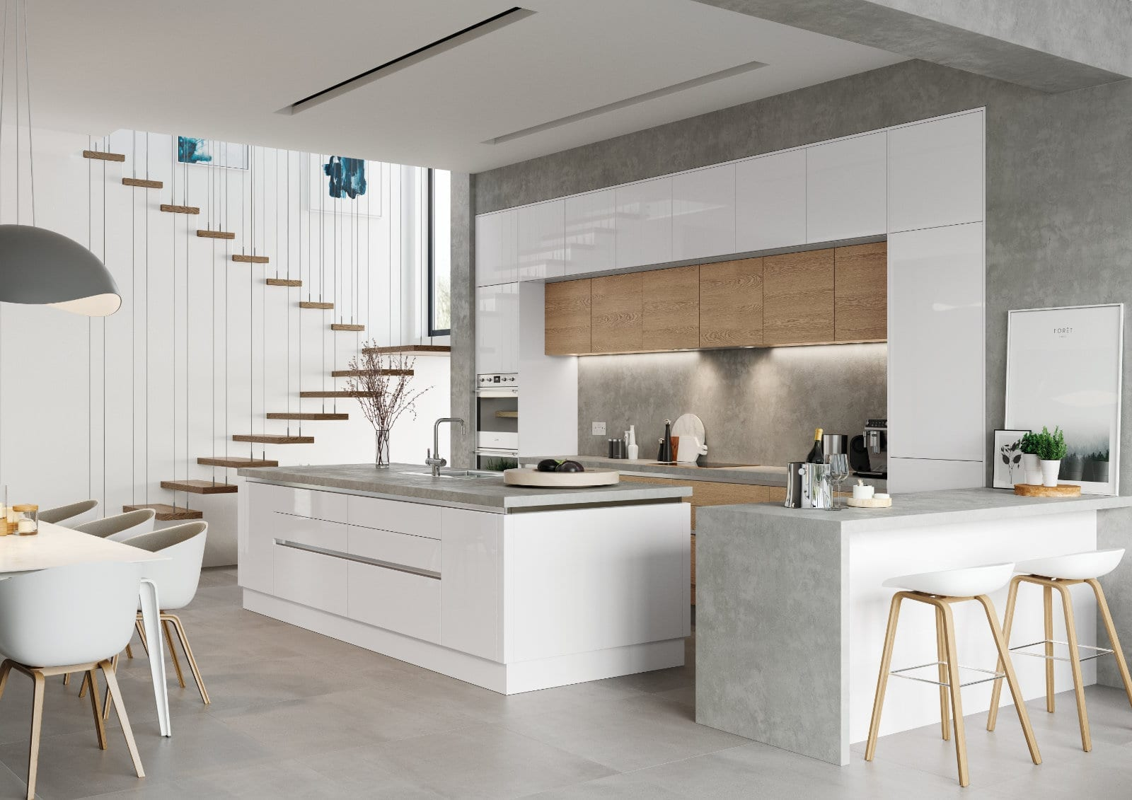 Alku White Gloss Open Plan Kitchen With Island 1 | Unique Bedrooms Direct | Dunstable