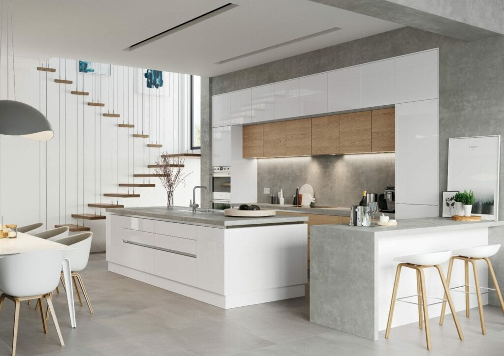 Alku White Gloss Open Plan Kitchen With Island 2 | Unique Bedrooms Direct | Dunstable