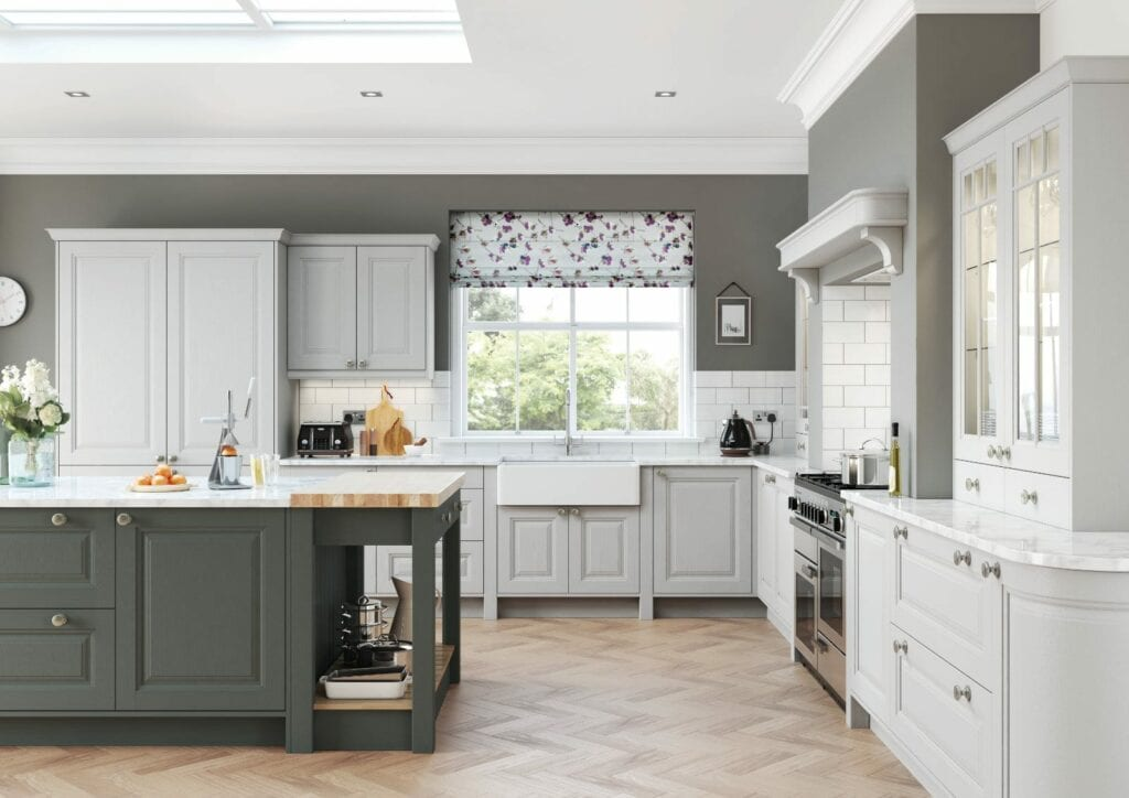 Alku White Grey Open Plan U Shaped Kitchen With Island 1   Unique Bedrooms Direct   Dunstable