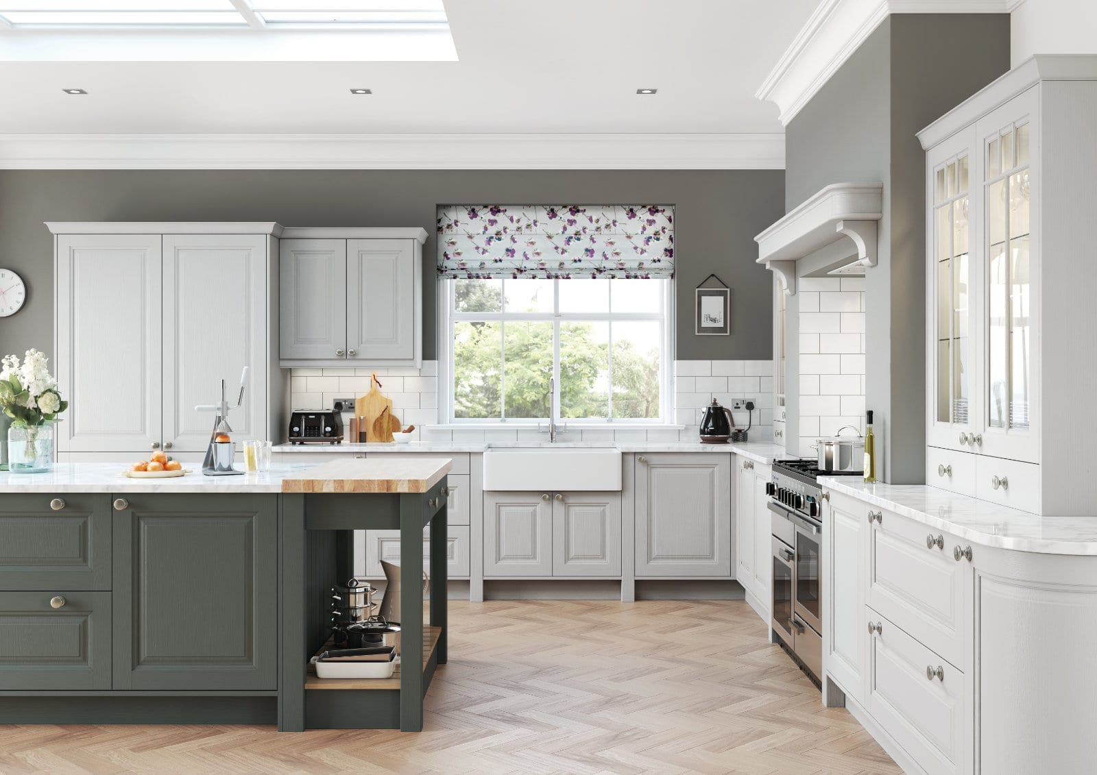 Alku White Grey Open Plan U Shaped Kitchen With Island 2 | Unique Bedrooms Direct | Dunstable