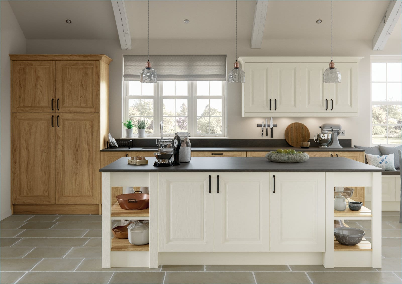 Alku White Wood Open Plan Shaker Kitchen With Island 2   Unique Bedrooms Direct   Dunstable