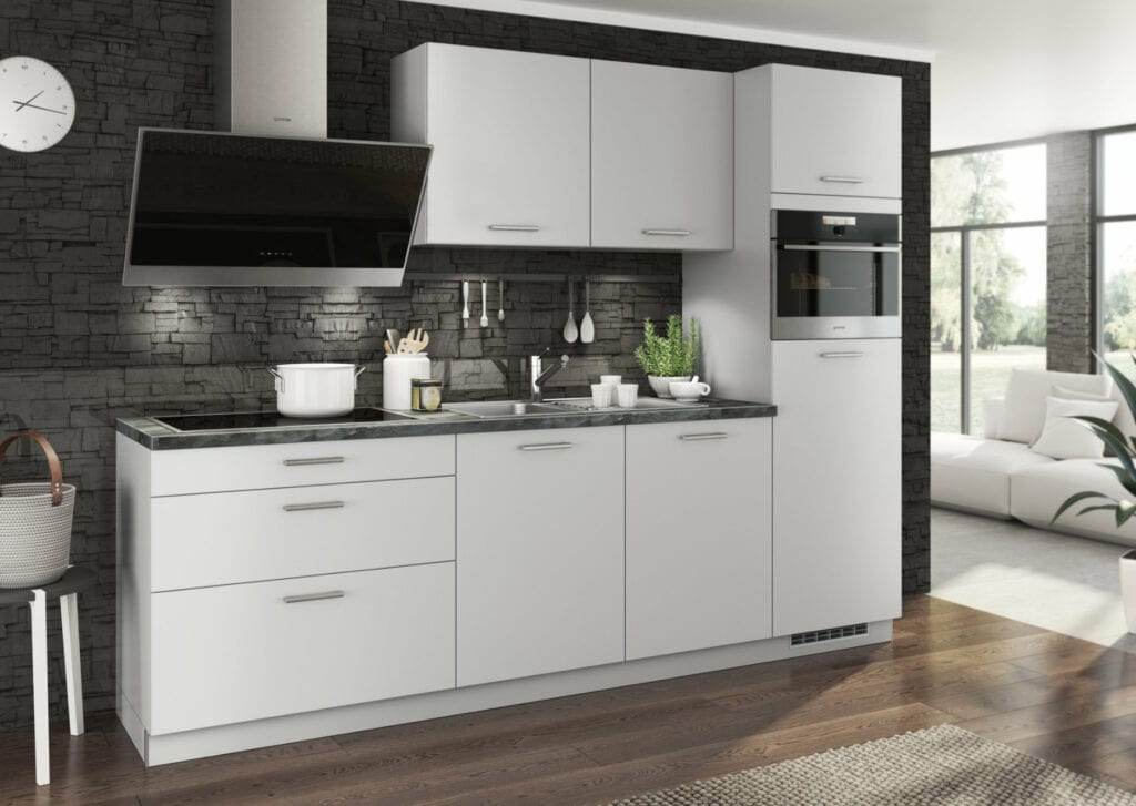 Bauformat Matt White Modern Compact Kitchen 2 | Alpha Designs, Preston