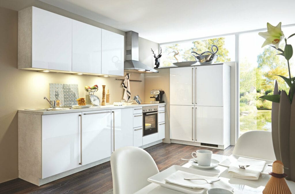 Bauformat White Gloss Compact L Shaped Kitchen 1 | Alpha Designs, Preston