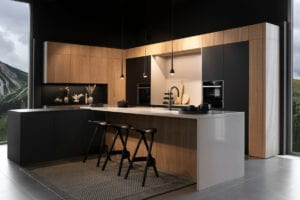 Leicht Matt Black Wood Handleless Kitchen | Inova Kitchens, Luton