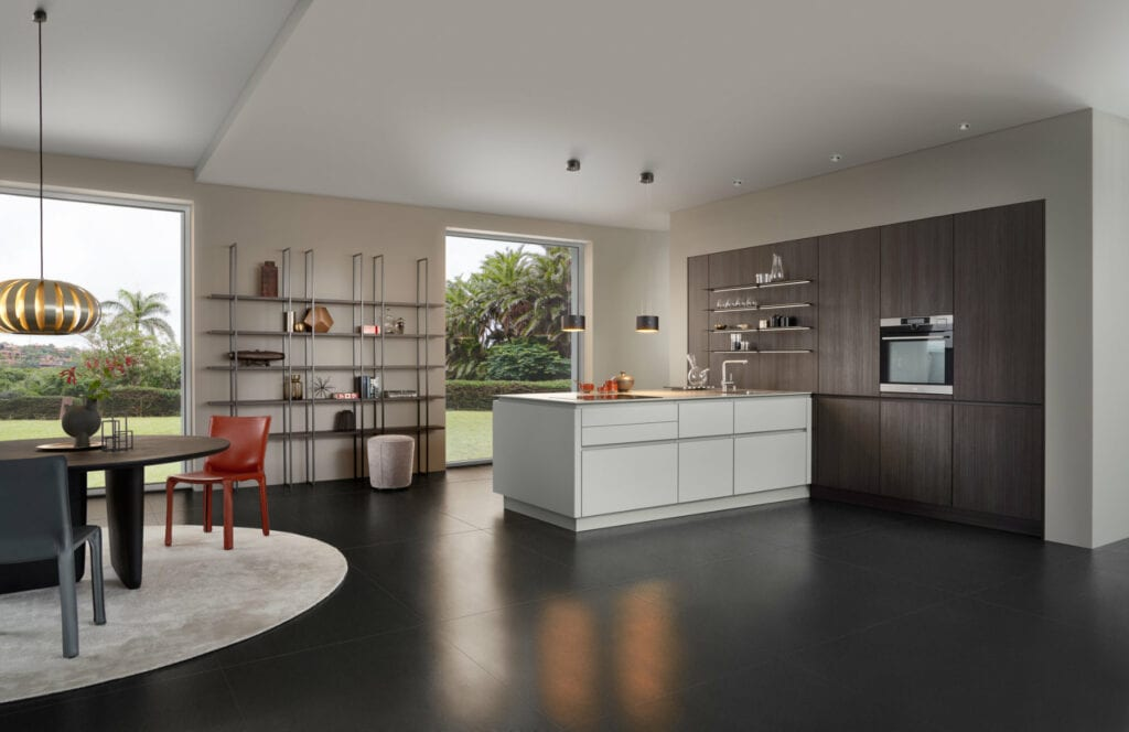 Leicht Matt White Dark Wood Handleless Kitchen | Inova Kitchens, Luton