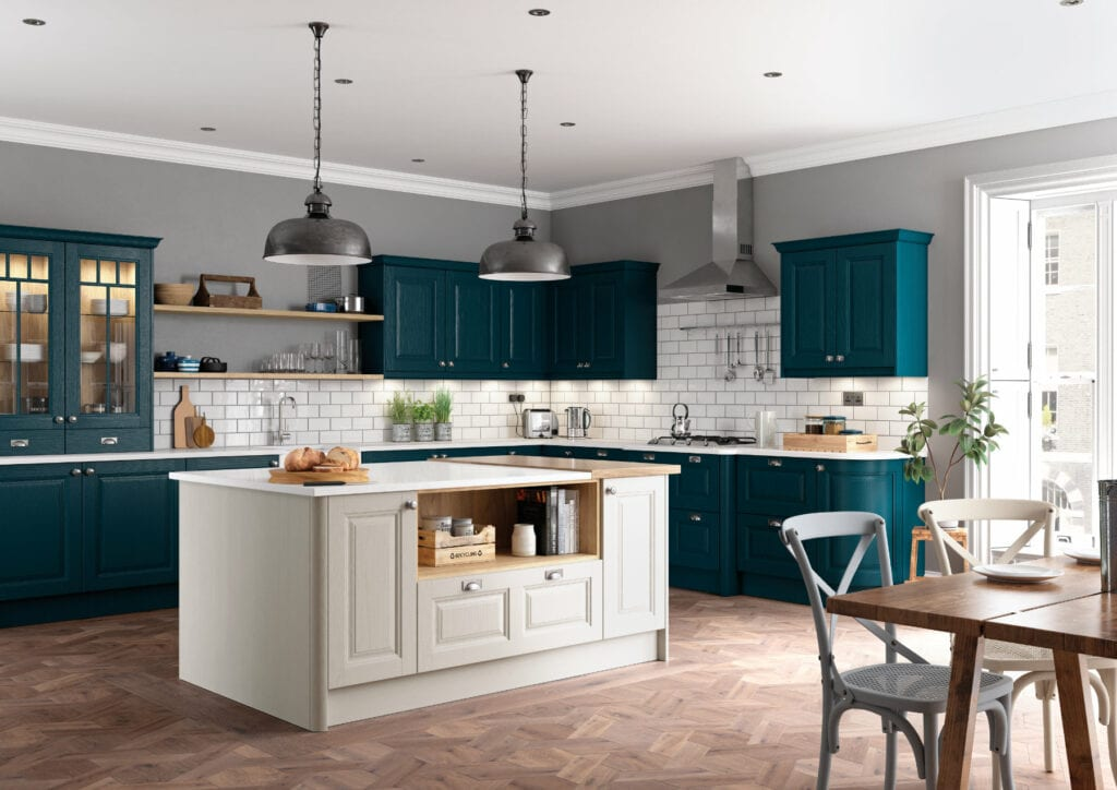 Daval Amberley Navy Blue & Dove Grey Shaker Traditional Kitchen | Daval Furniture, Huddersfield