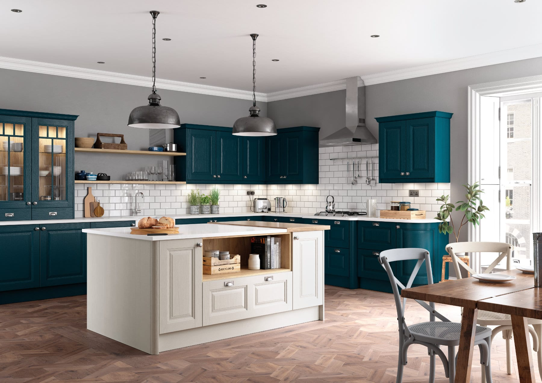 Daval Amberley Navy Blue & Dove Grey Shaker Traditional Kitchen   Daval Furniture, Huddersfield