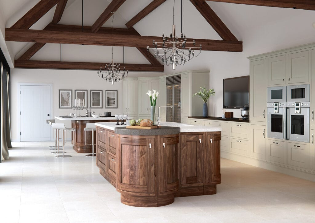 Aisling In Frame Traditional Kitchen With Curved Island | Colour House Interiors, Caterham