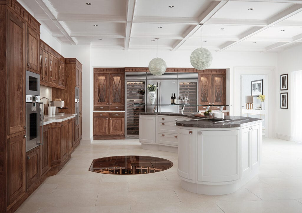 Aisling In Frame Wood Kitchen With Curved Island | Colour House Interiors, Caterham