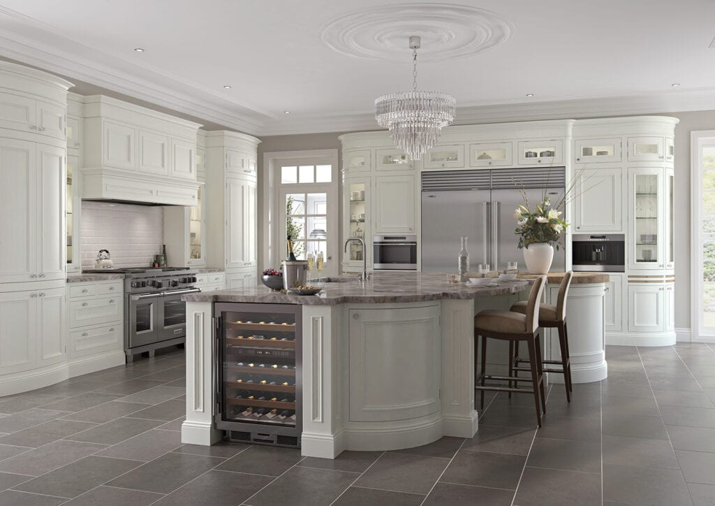 Aisling In Frane White Shaker Kitchen With Curved Island | Colour House Interiors, Caterham