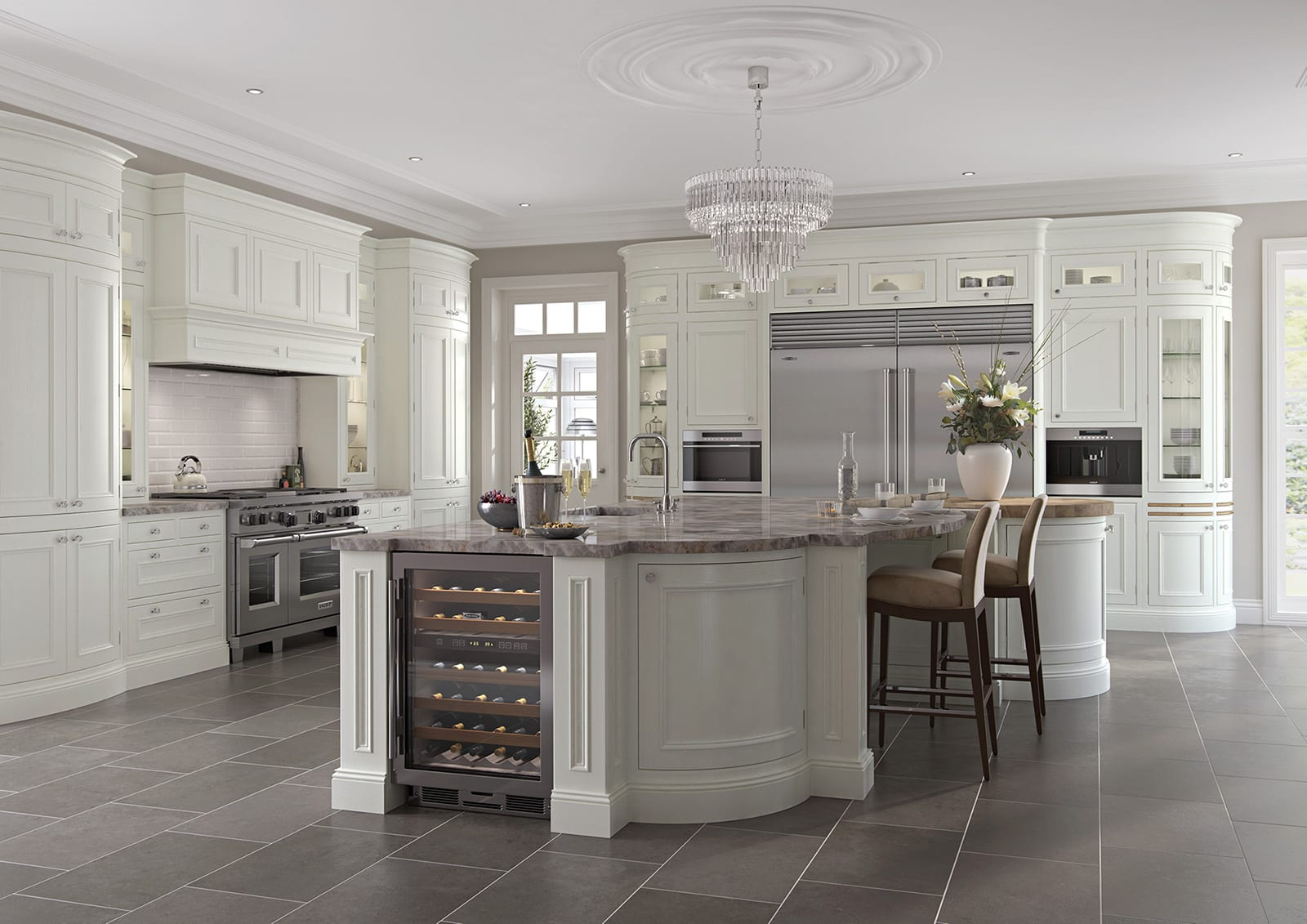 Aisling In Frane White Shaker Kitchen With Curved Island   Colour House Interiors, Caterham