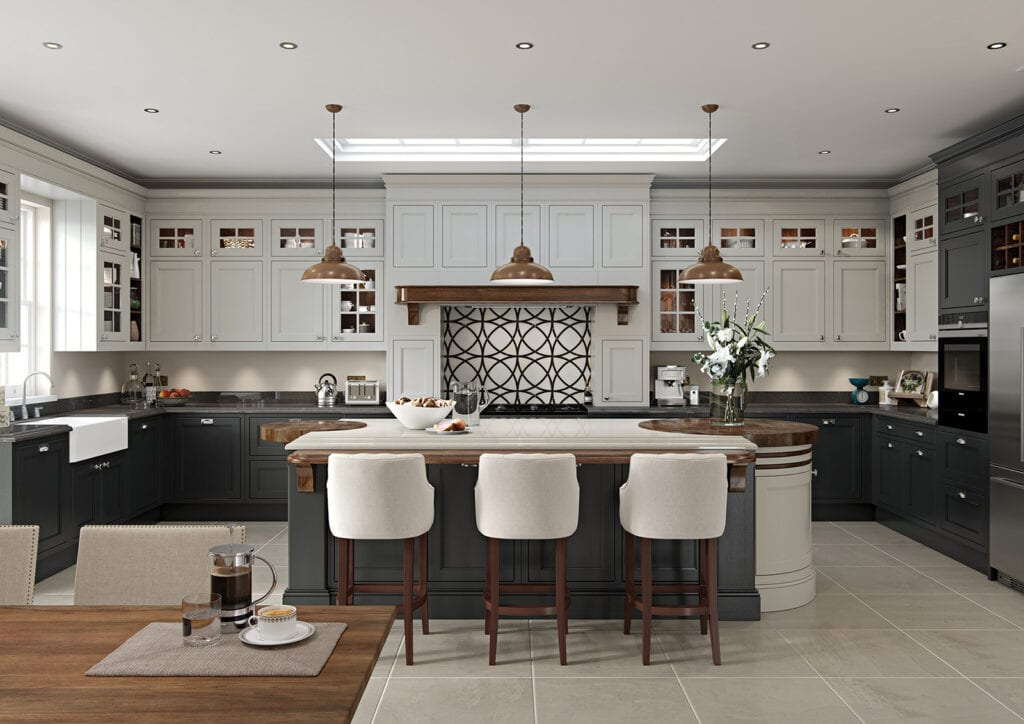 Aisling Traditional U Shaped Kitchen With Island | Colour House Interiors, Caterham