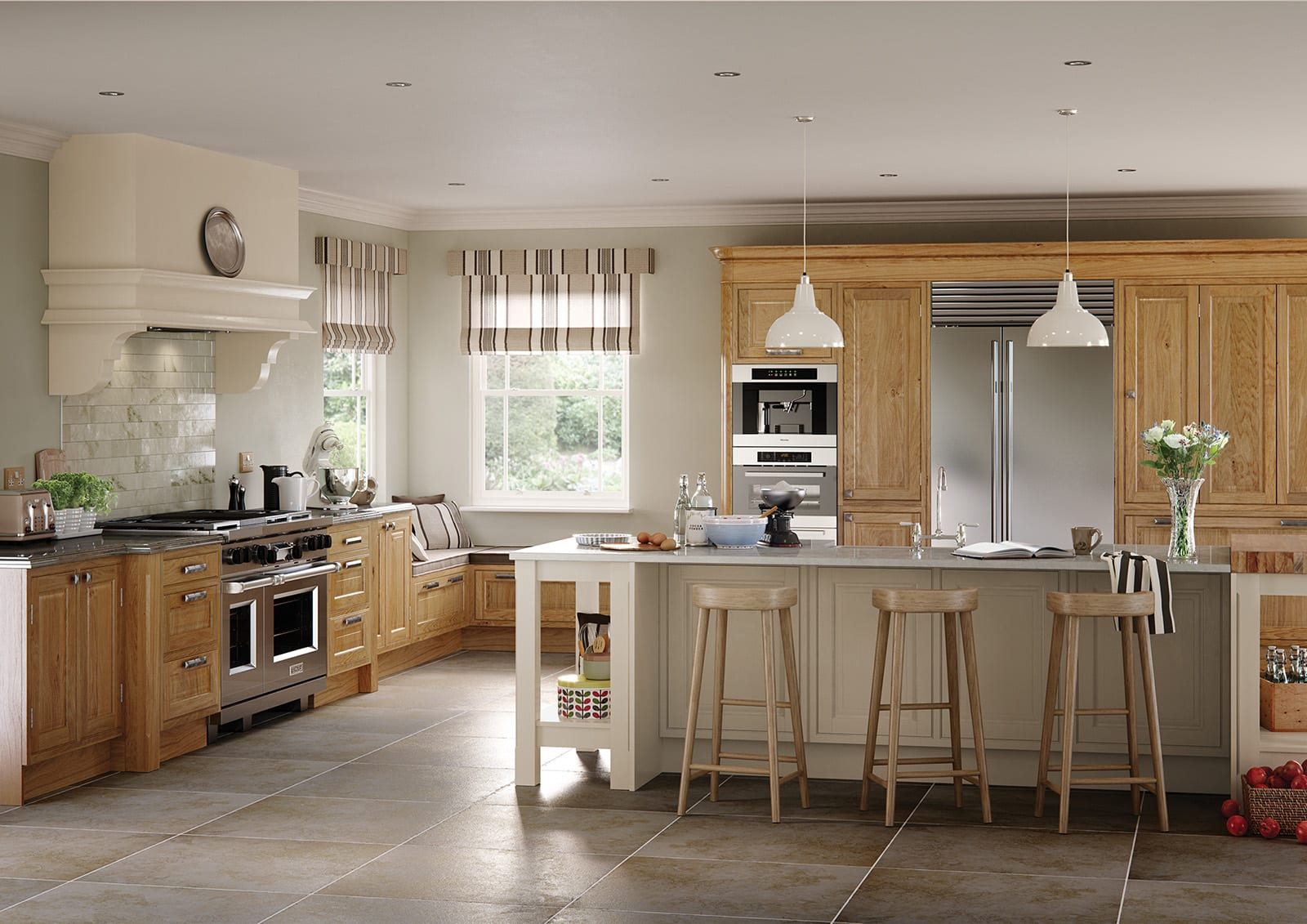 Aisling Wood Shaker L Shaped Kitchen With Island | Colour House Interiors, Caterham