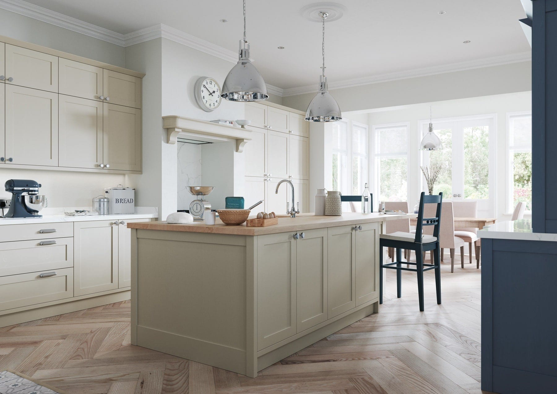 Aldana Airforce And Stone Shaker Kitchen With Island | Colour House Interiors, Caterham