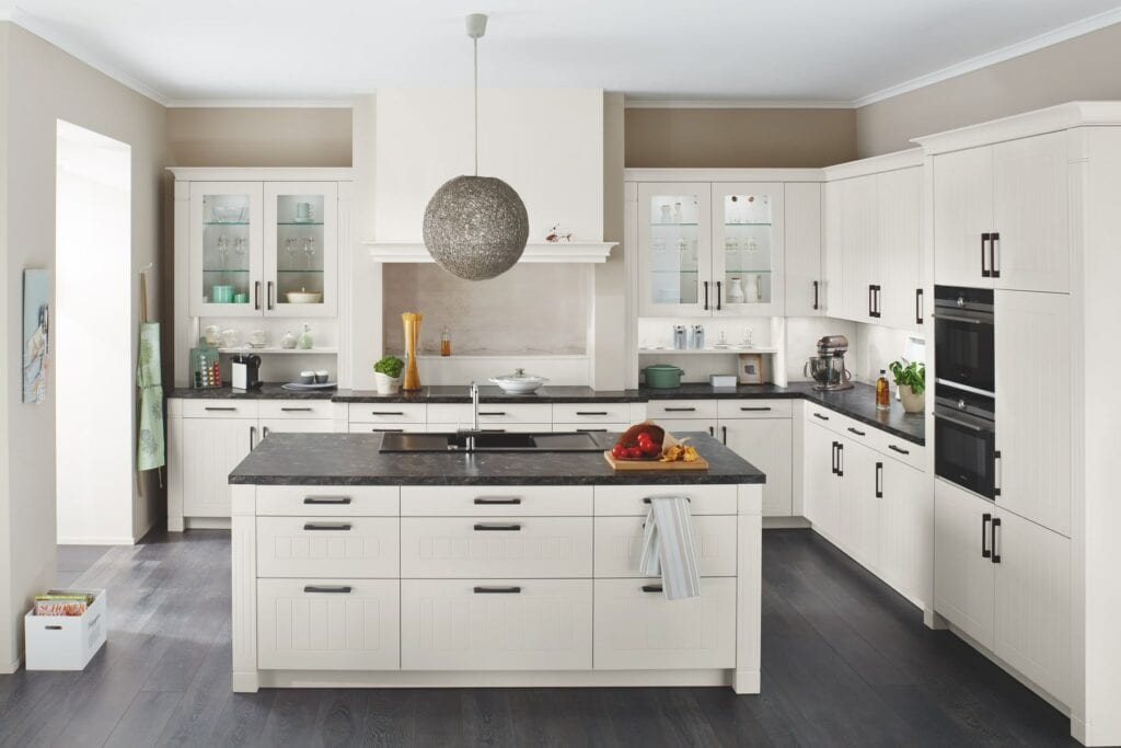 Ballerina Light L Shaped Kitchen With Island   Colour House Interiors, Caterham