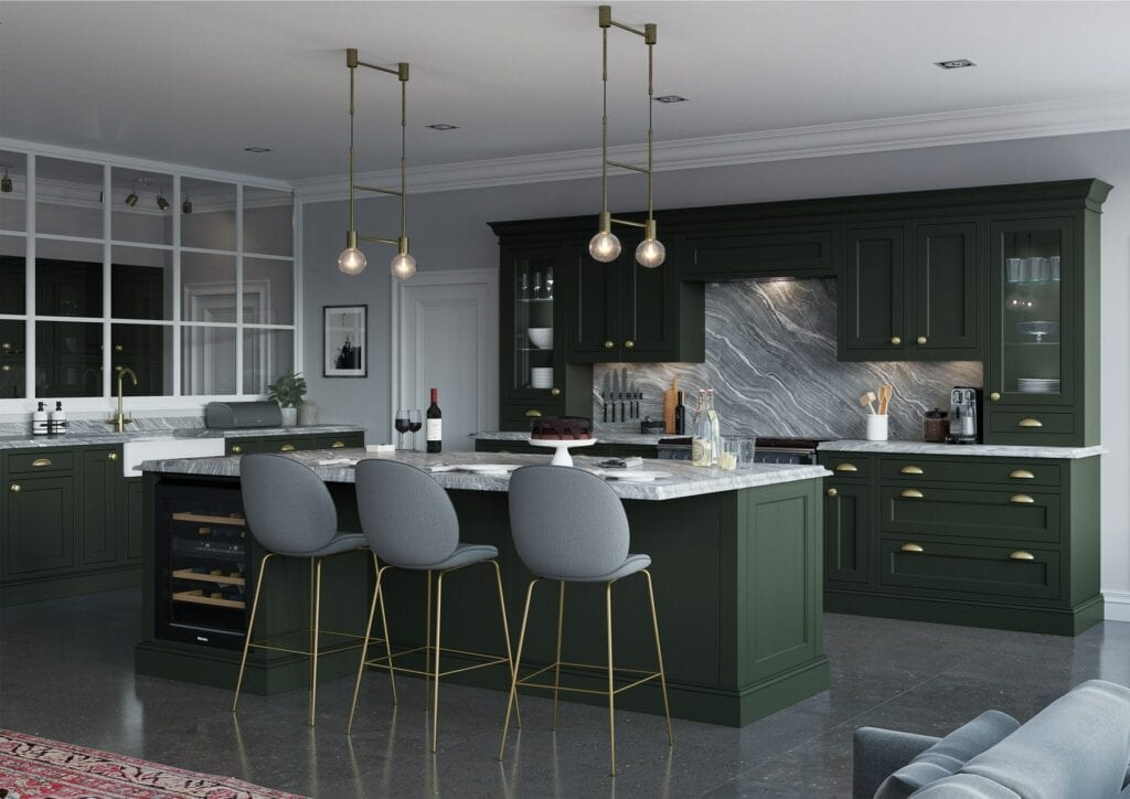 Belgravia Forest Green Shaker In Frame Kitchen With Island | Colour House Interiors, Caterham
