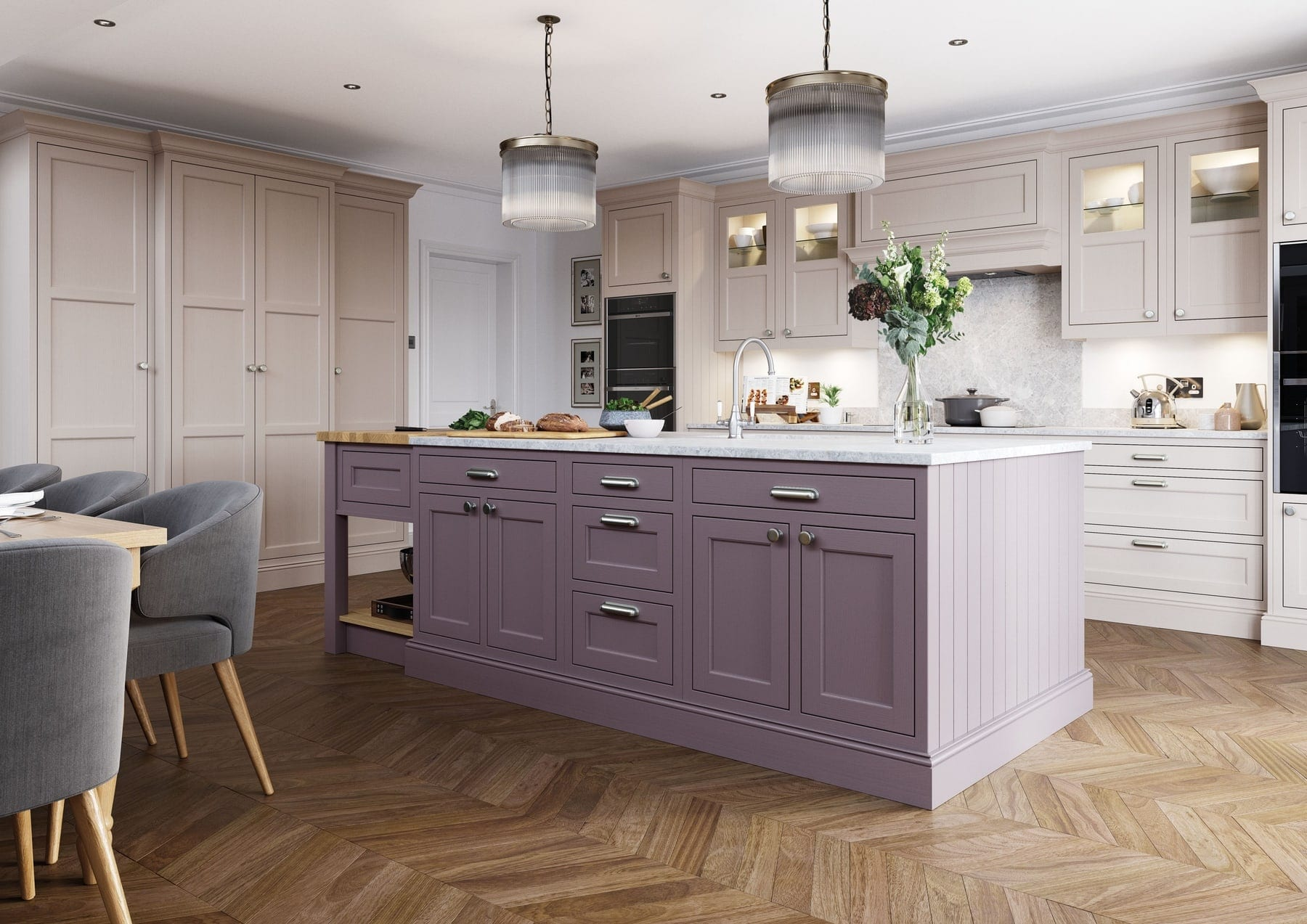 Belgravia Lavender Gray And Cashmere In Frame Shaker Kitchen With Island | Colour House Interiors, Caterham