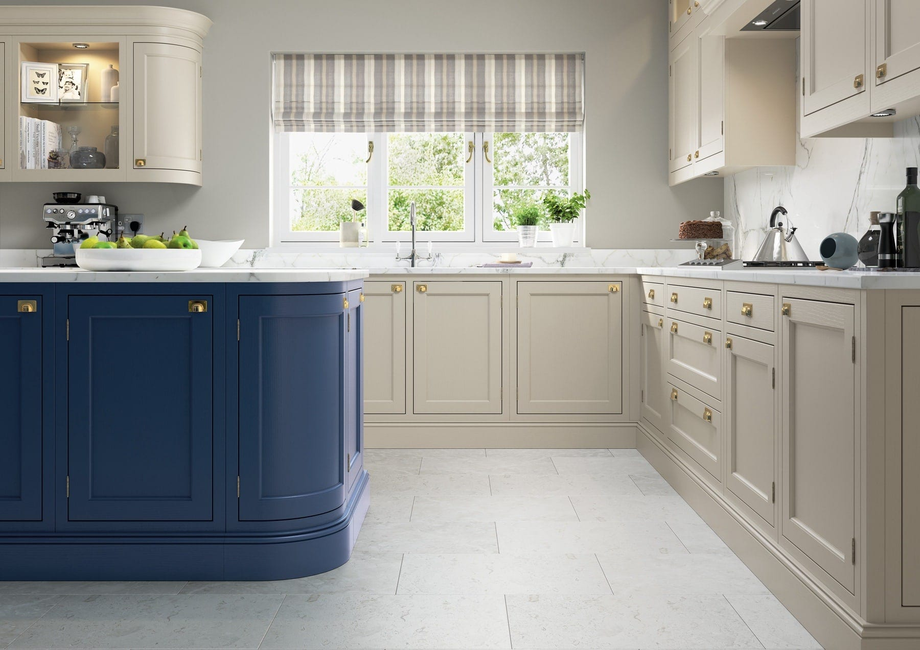 Belgravia Parisian Blue And Stone In Frame L Shaped Kitchen 2   Colour House Interiors, Caterham