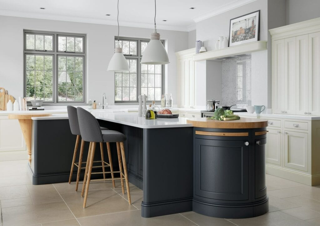 Belgravia Porcelain And Slate Blue Shaker Kitchen With Island 1 | Colour House Interiors, Caterham