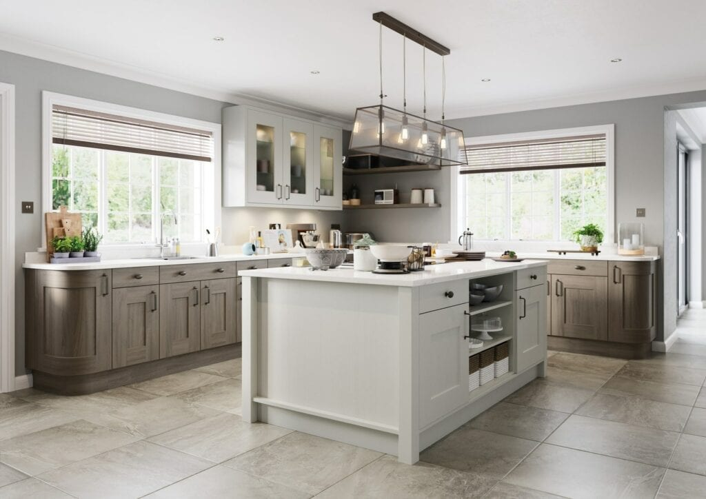 Clonmel Light Grey And Carbon Shaker L Shaped Kitchen With Island 1   Colour House Interiors, Caterham