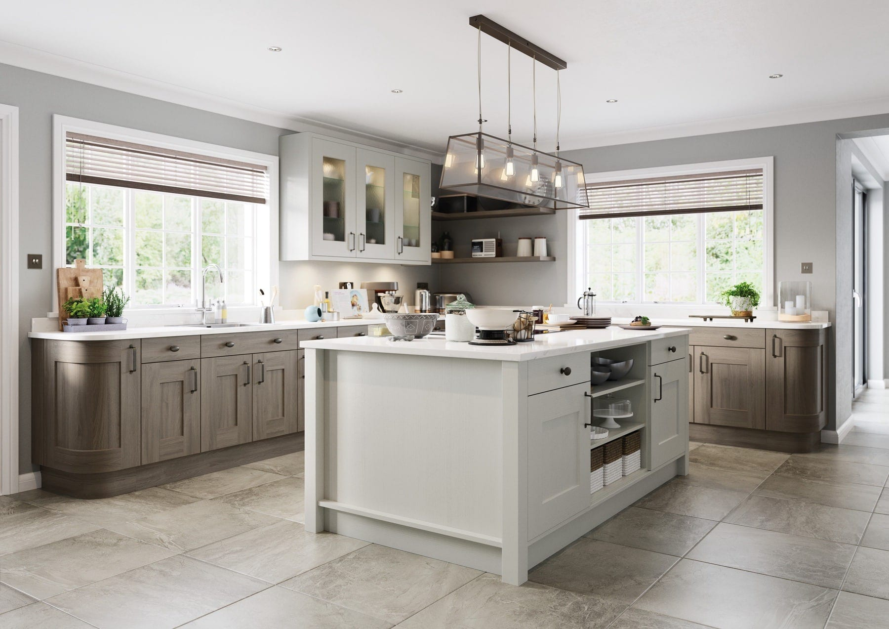 Clonmel Light Grey And Carbon Shaker L Shaped Kitchen With Island | Colour House Interiors, Caterham