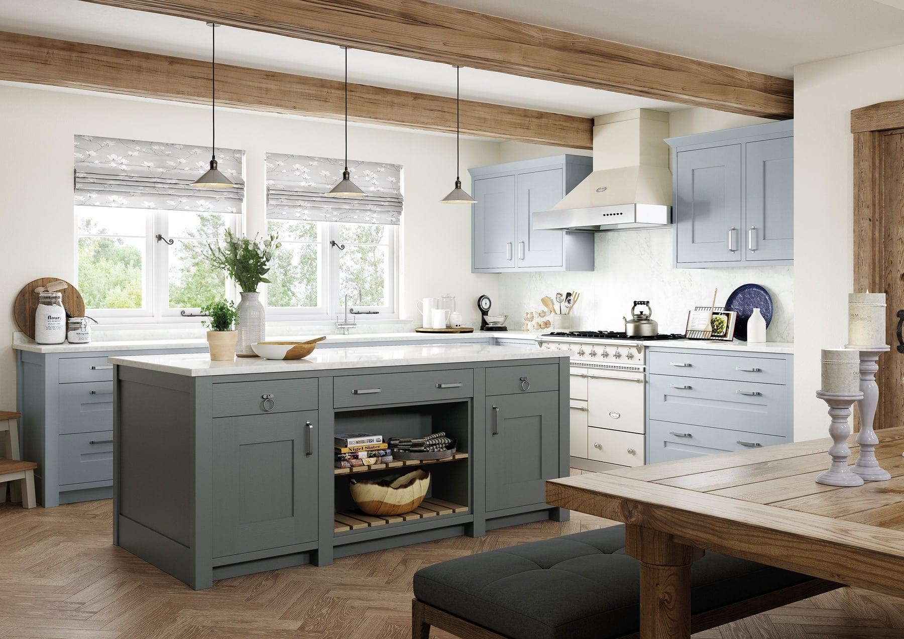 Clonmel Pantry Blue And Gun Metal Grey Shaker L Shaped Kitchen With Island | Colour House Interiors, Caterham