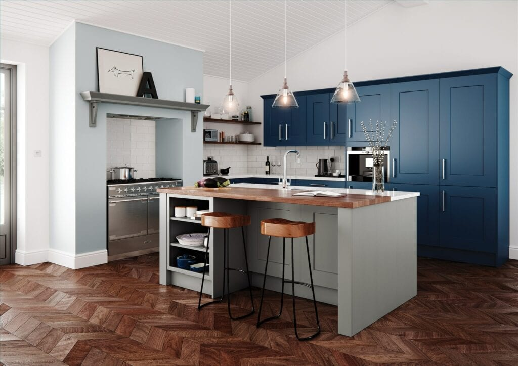 Clonmel Stone And Parisian Blue Shaker L Shaped Kitchen With Island   Colour House Interiors, Caterham