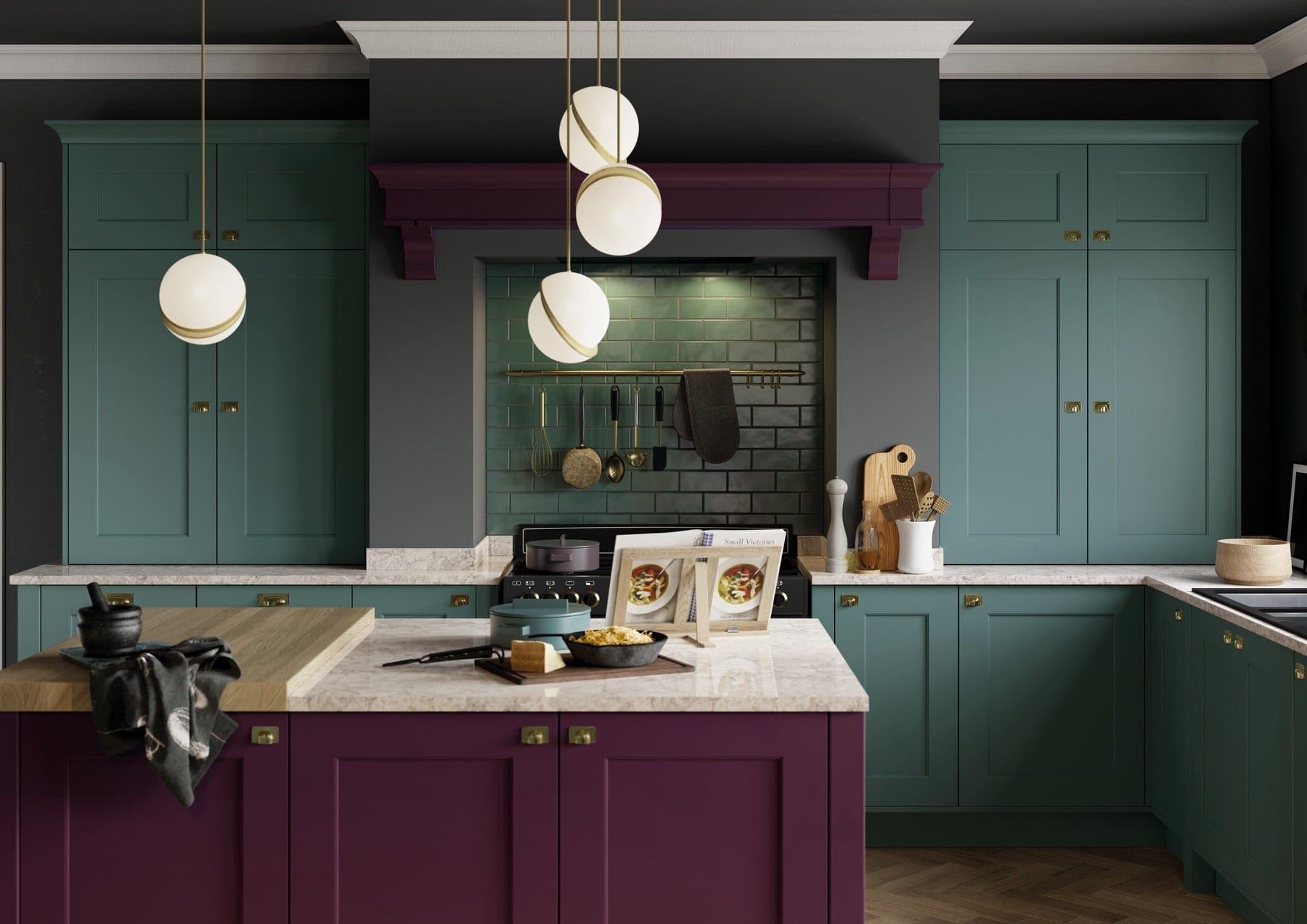 Florence Deep Heather And Viridian Shaker Kitchen   Colour House Interiors, Caterham