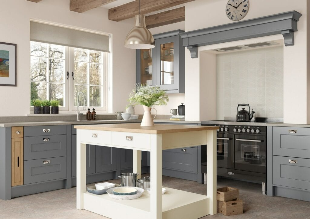 Florence Dust Grey And Porcelain Shaker L Shaped Kitchen   Colour House Interiors, Caterham