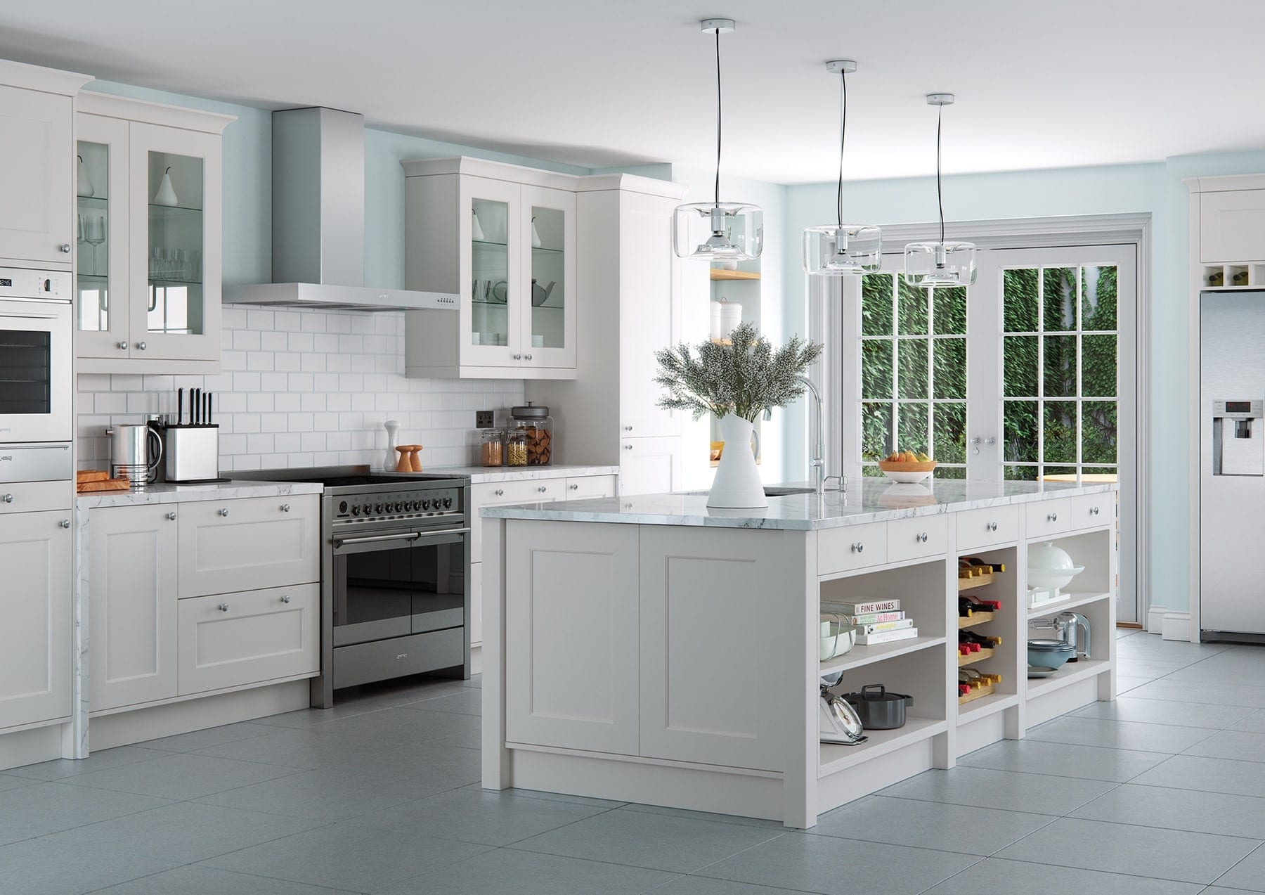 Florence Light Grey Shaker Open Plan Kitchen With Island   Colour House Interiors, Caterham