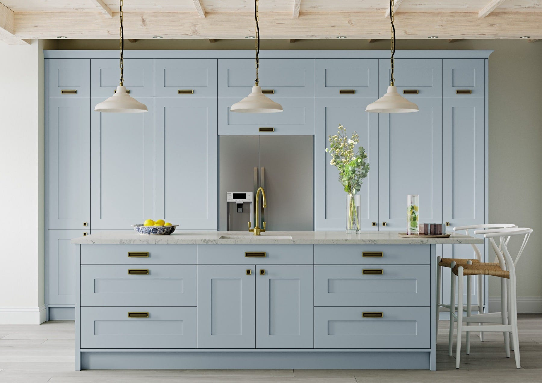 Georgia Pantry Blue Shaker Kitchen With Island | Colour House Interiors, Caterham