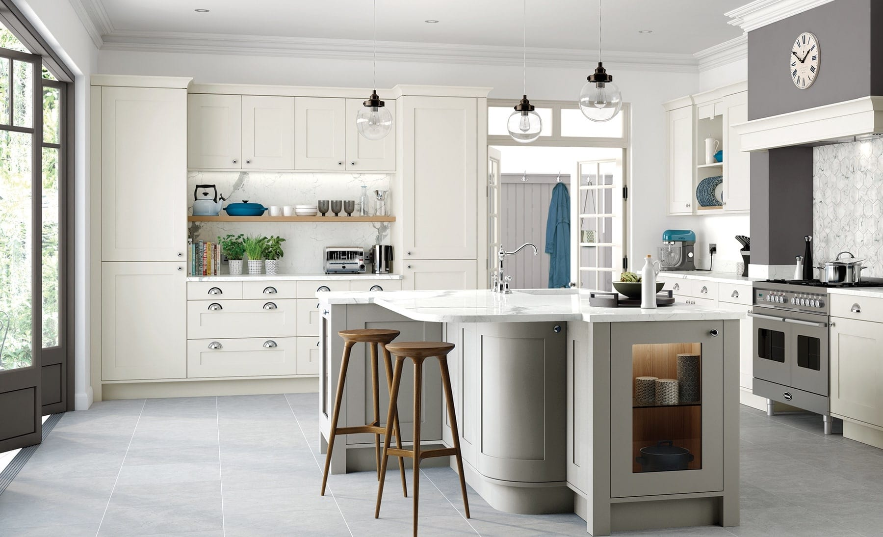 Georgia Porcelain And Stone Shaker Kitchen With Island   Colour House Interiors, Caterham