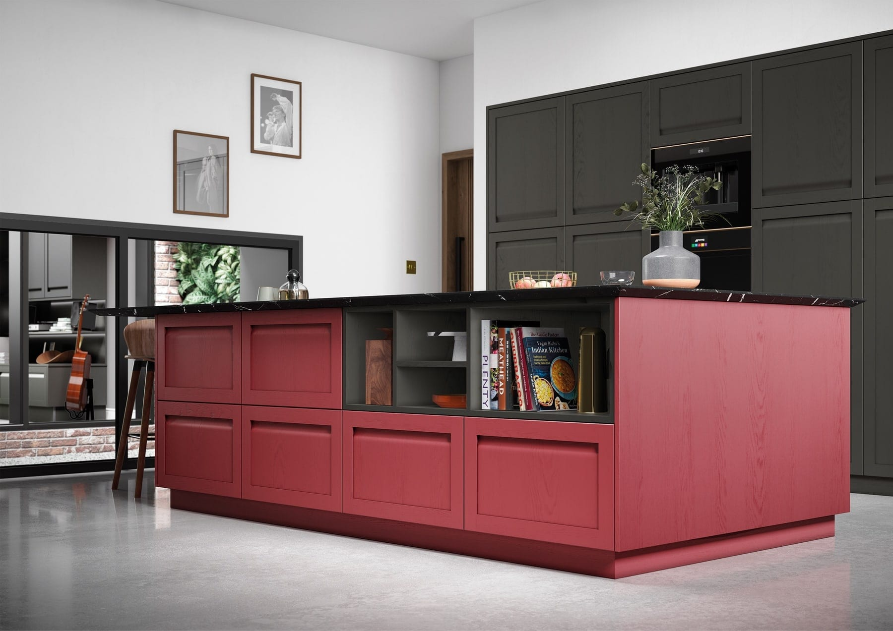 Harborne Graphite And Cms Chicory Red Kitchen With Island   Colour House Interiors, Caterham