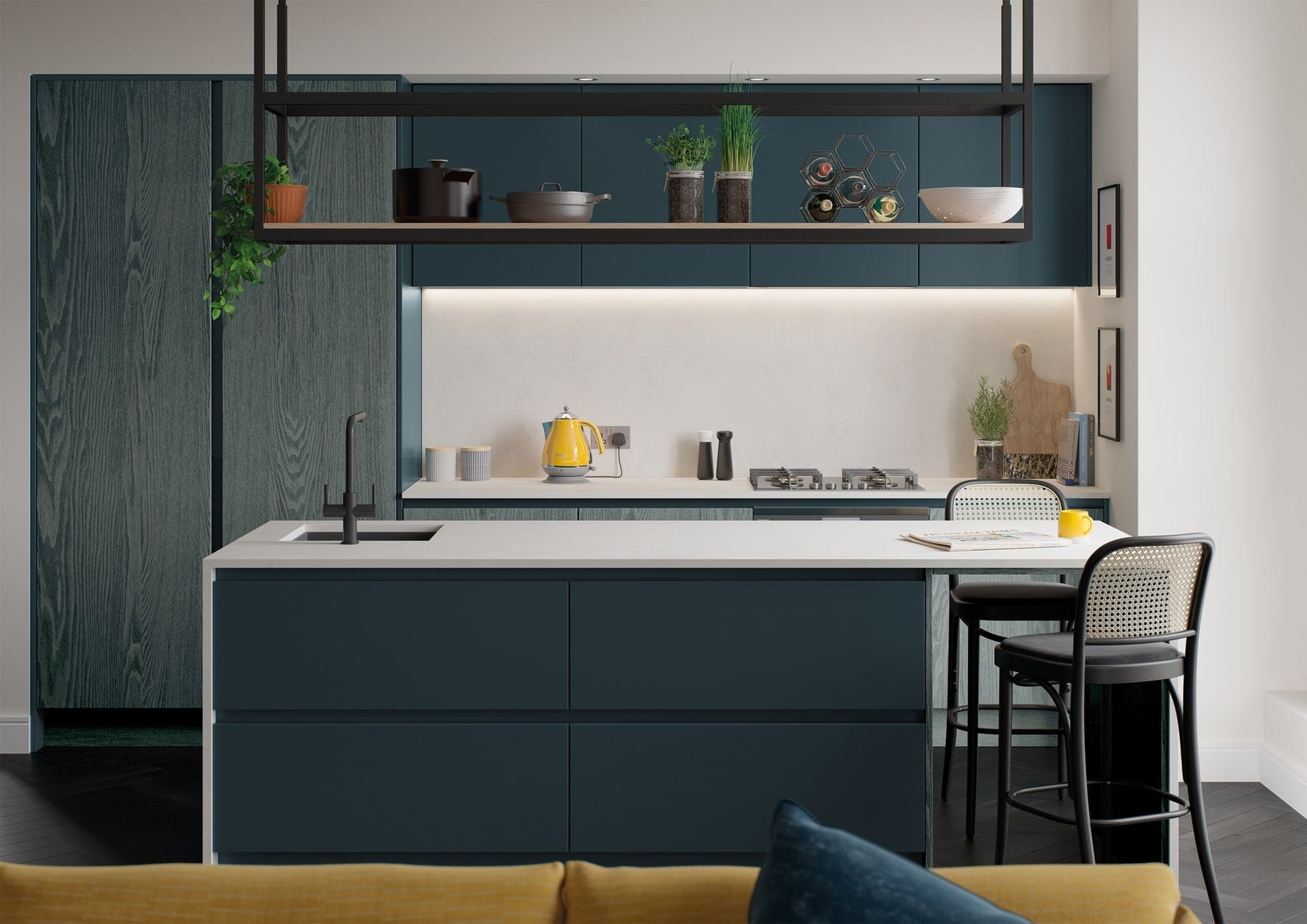 Kelso Pacific Blue And Zola Matte Marine Handleless Compact Kitchen 1 | Colour House Interiors, Caterham
