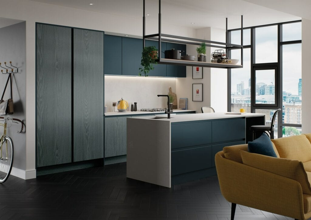 Kelso Pacific Blue And Zola Matte Marine Handleless Kitchen 1 | Colour House Interiors, Caterham