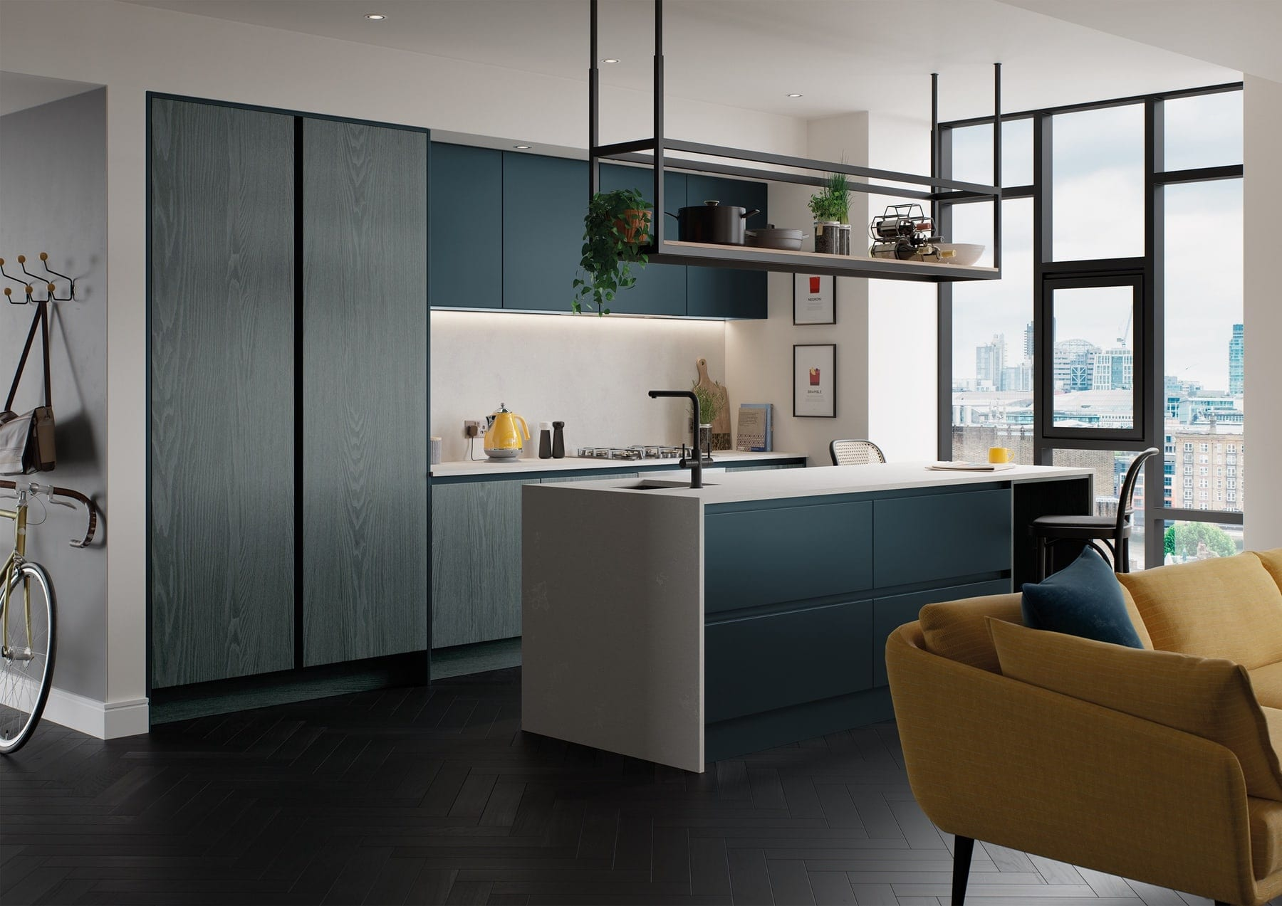 Kelso Pacific Blue And Zola Matte Marine Handleless Kitchen 1   Colour House Interiors, Caterham
