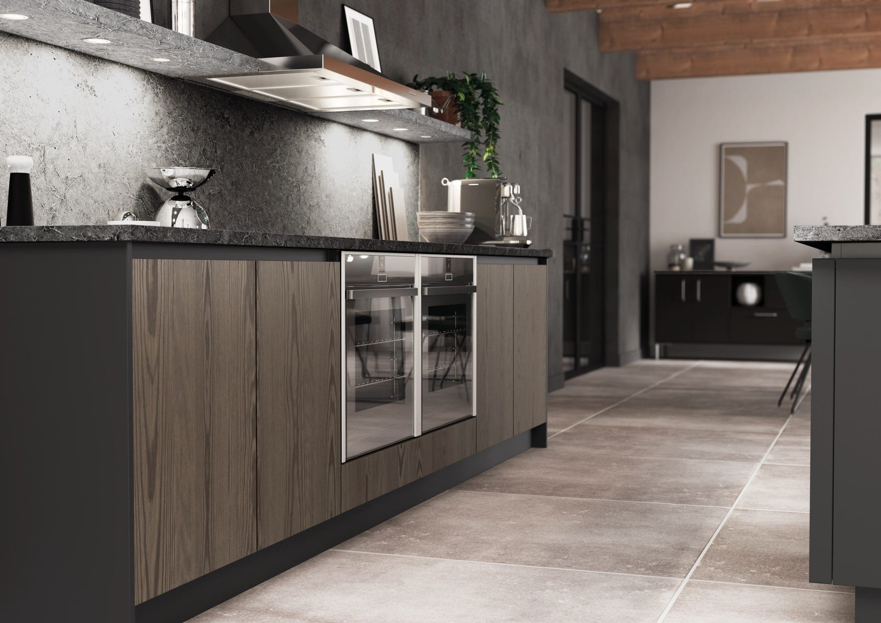 Kelso Truffle Grey And Zola Matte Graphite Handleless Kitchen | Colour House Interiors, Caterham