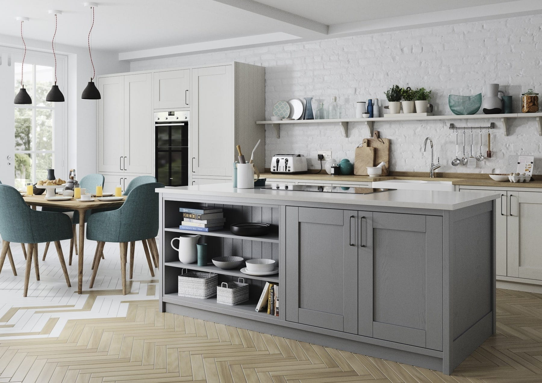Madison Light Grey And Dust Grey Shaker Open Plan Kitchen   Colour House Interiors, Caterham