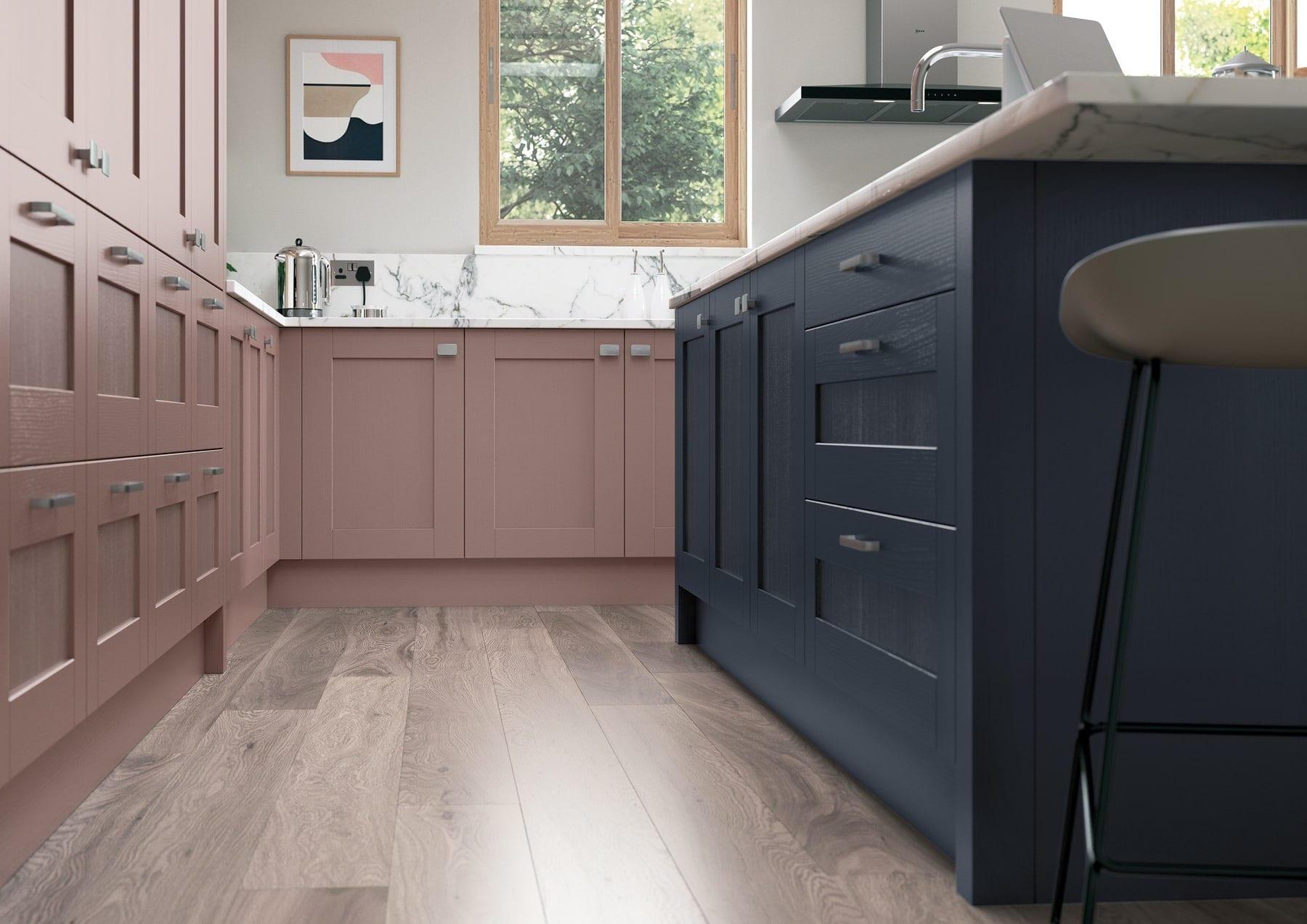 Madison Vintage Pink And Slate Blue Shaker Kitchen | Colour House Interiors, Caterham