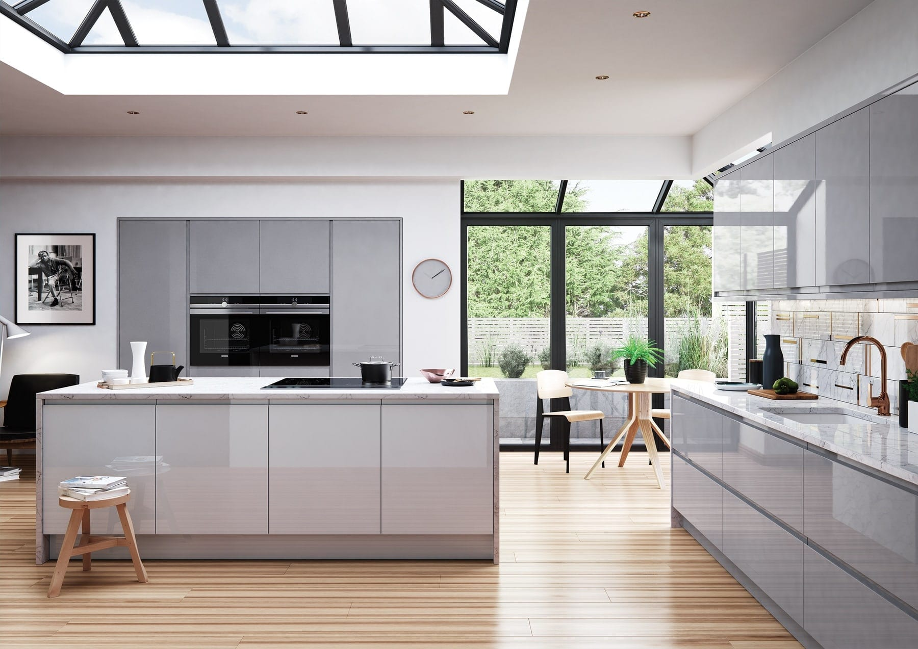 Strada Gloss Dust Grey And Light Grey Handleless Kitchen With Island | Colour House Interiors, Caterham