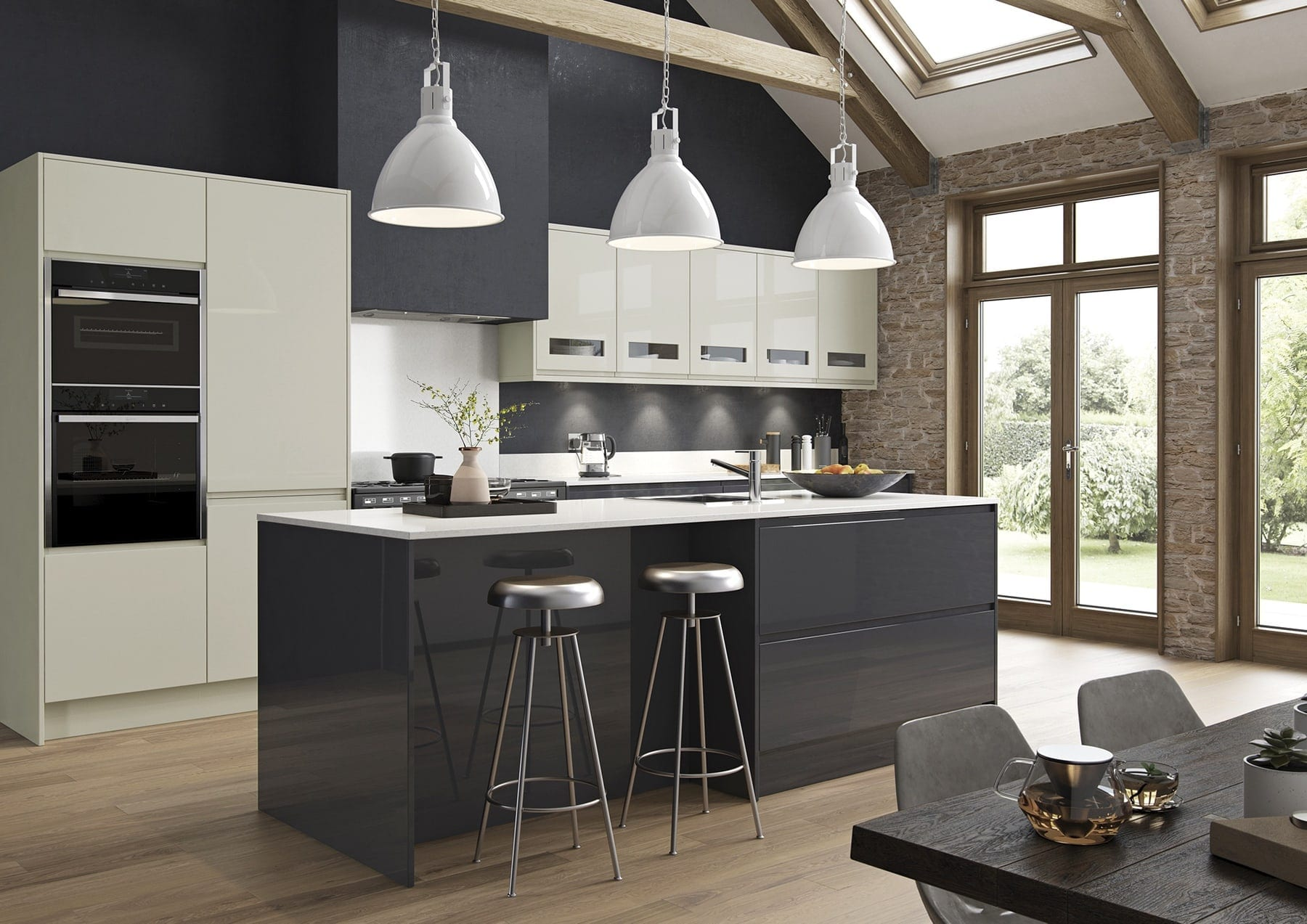 Strada Gloss Graphite And Porcelain Kitchen With Island | Colour House Interiors, Caterham